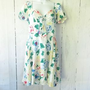 Reformed Dress Cut Out Tie Front Floral Print New
